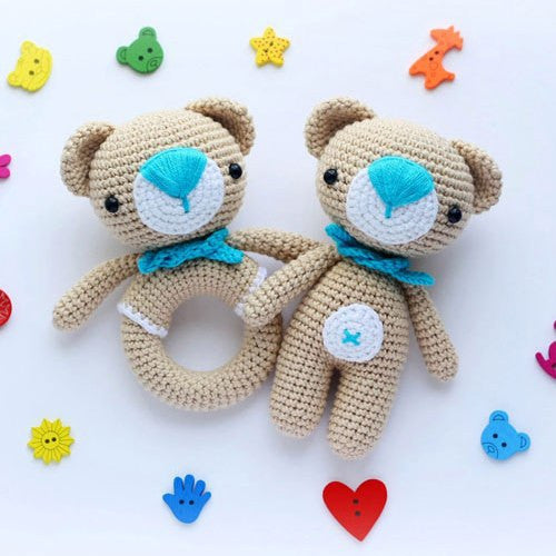 Amigurumi teddy bear and teddy rattle - printable PDF