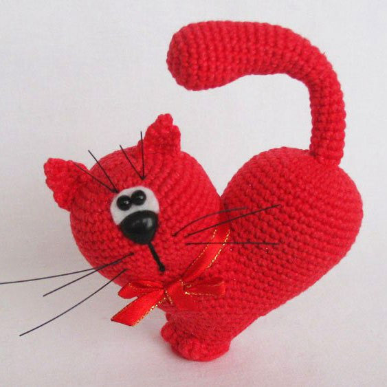 Valentine's Day Cat crochet pattern - printable PDF