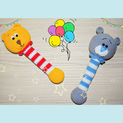 Winnie the Pooh and Teddy crochet rattles - printable PDF
