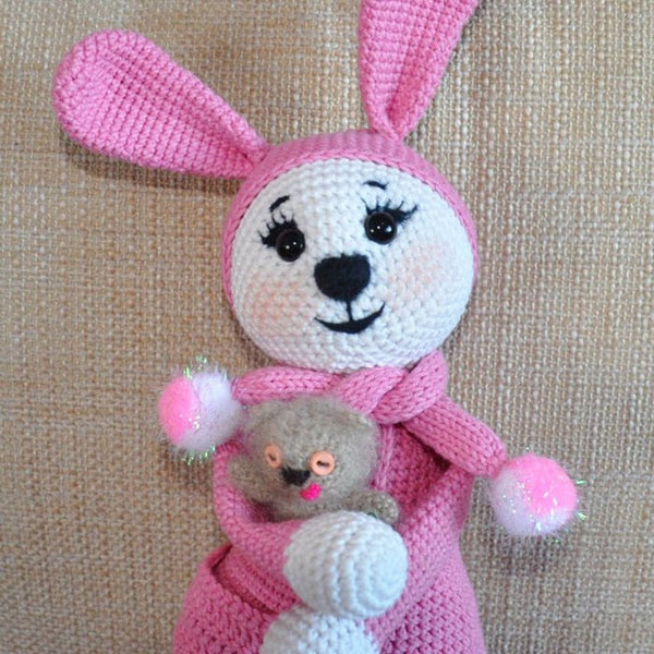 Amigurumi bunny in pajamas - printable PDF