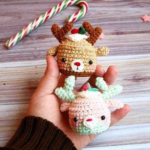 Christmas deer cupcake pattern - printable PDF