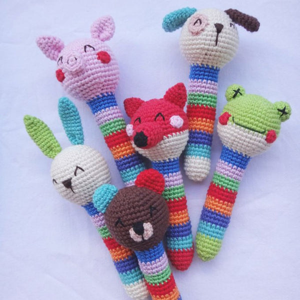 Crochet animal baby rattles + patterns - printable PDF