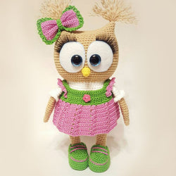 Cute owl in dress amigurumi pattern - printable PDF