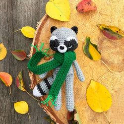 Crochet raccoon with scarf  pattern - printable PDF