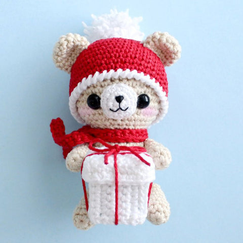 Crochet teddy bear with Christmas gift - printable PDF