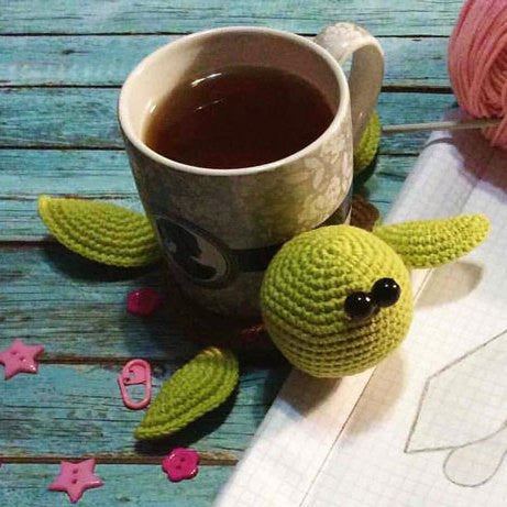 Amigurumi turtle crochet coaster - printable PDF