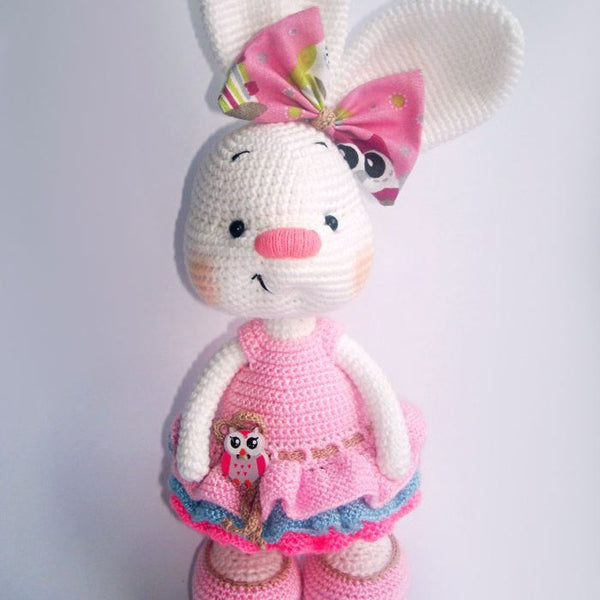 Pretty bunny amigurumi in dress - printable PDF