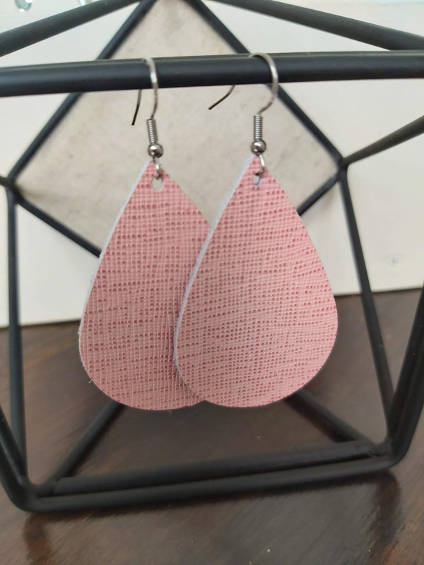 Patterned Leather Teardrop Earrings