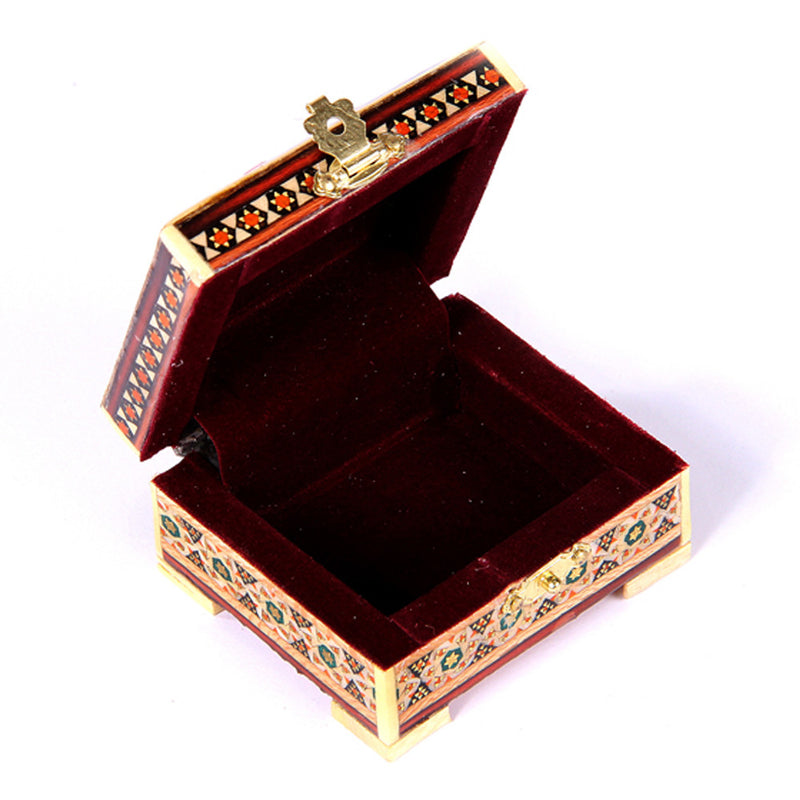 small Wooden ALL HANDMADE Trinket Treasure chest inlaid box Jewellery Organiser with lock Wedding GIFT - luxurygiftcraft