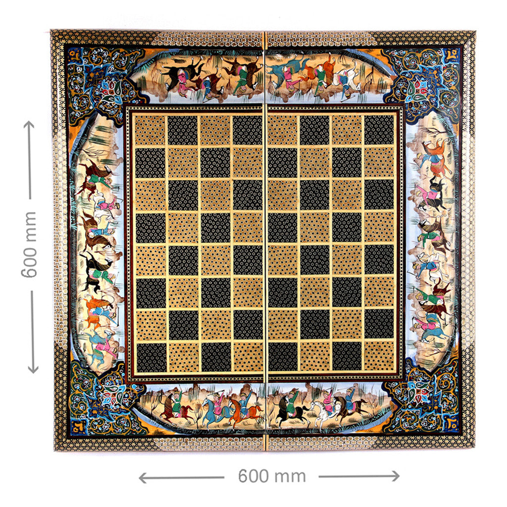 2 in 1 FOLDING WOODEN INLAID HANDMADE CHESS SET Board Game Backgammon gift - luxurygiftcraft