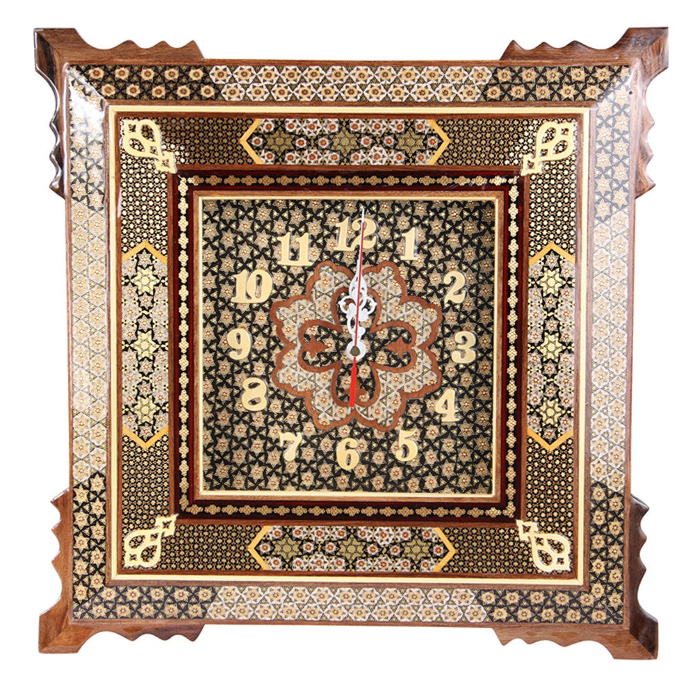 Luxury Handmade Marquetry Clock Craft Gift Home Decoration - luxurygiftcraft