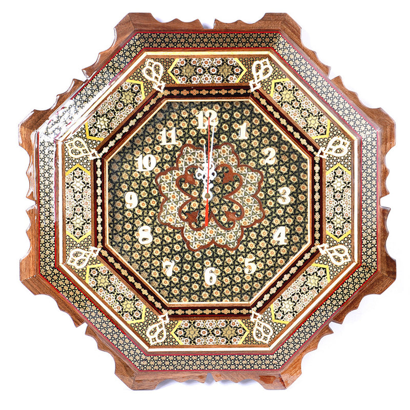 Luxury Handmade Marquetry Clock Craft Chic Gift Home Furniture Decoration