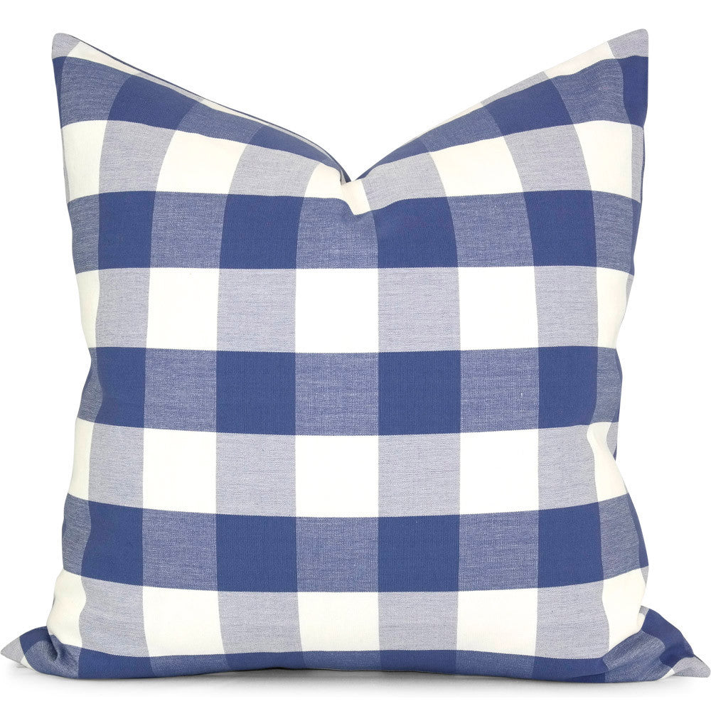 "Romo Melbury Buffalo Check Sapphire Pillow Cover: Shown in 20""x20"""