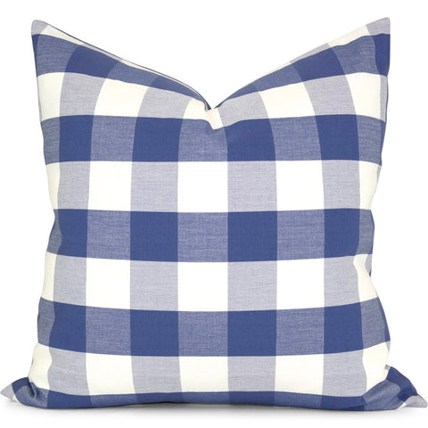 "Romo Melbury Buffalo Check Sapphire Pillow Cover by SWD Studio - Shown in 20""x20"""