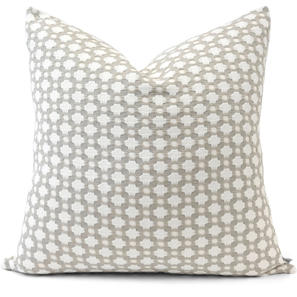 Betwixt Stone/White Pillow Cover | Front View | Shown 20x20