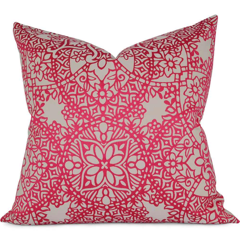 "Black Edition Byzantine Fuchsia Pillow Cover by SWD Studio - Shown in 20""x20"""