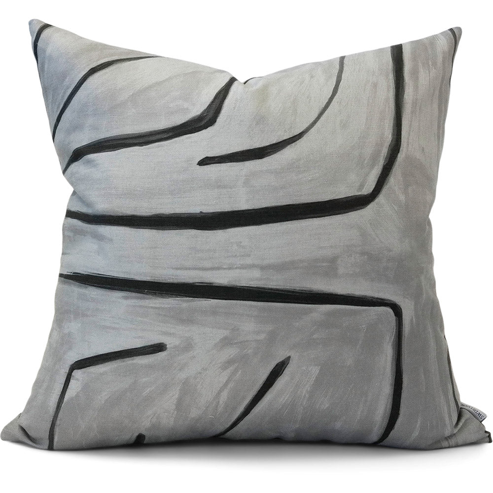 Graffito Graphite Pillow Cover | Front View | Shown in 20x20