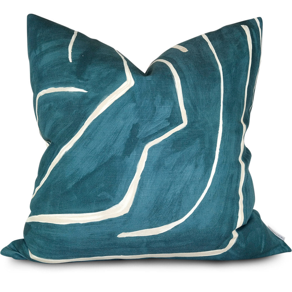Graffito Teal/Pearl Pillow Cover | Front View | Shown in 20x20