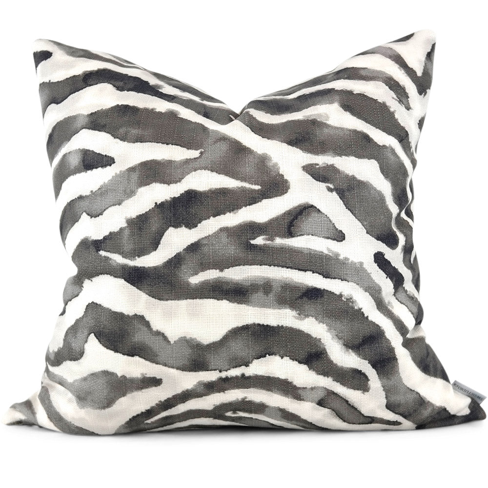 "ZEBRINK CHARCOAL Pillow Cover - Shown in 20""x20"""