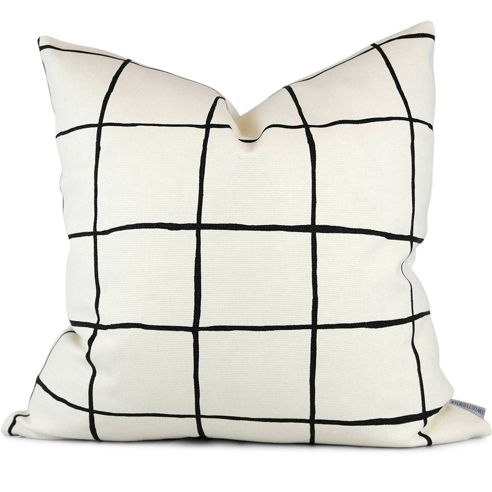 "COQUETTE ALABASTER/BLACK Pillow Cover - Shown in 20""X20"""