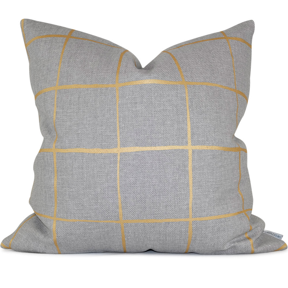 "COQUETTE HEATHER/GOLD Pillow Cover - Shown in 20""x20"""