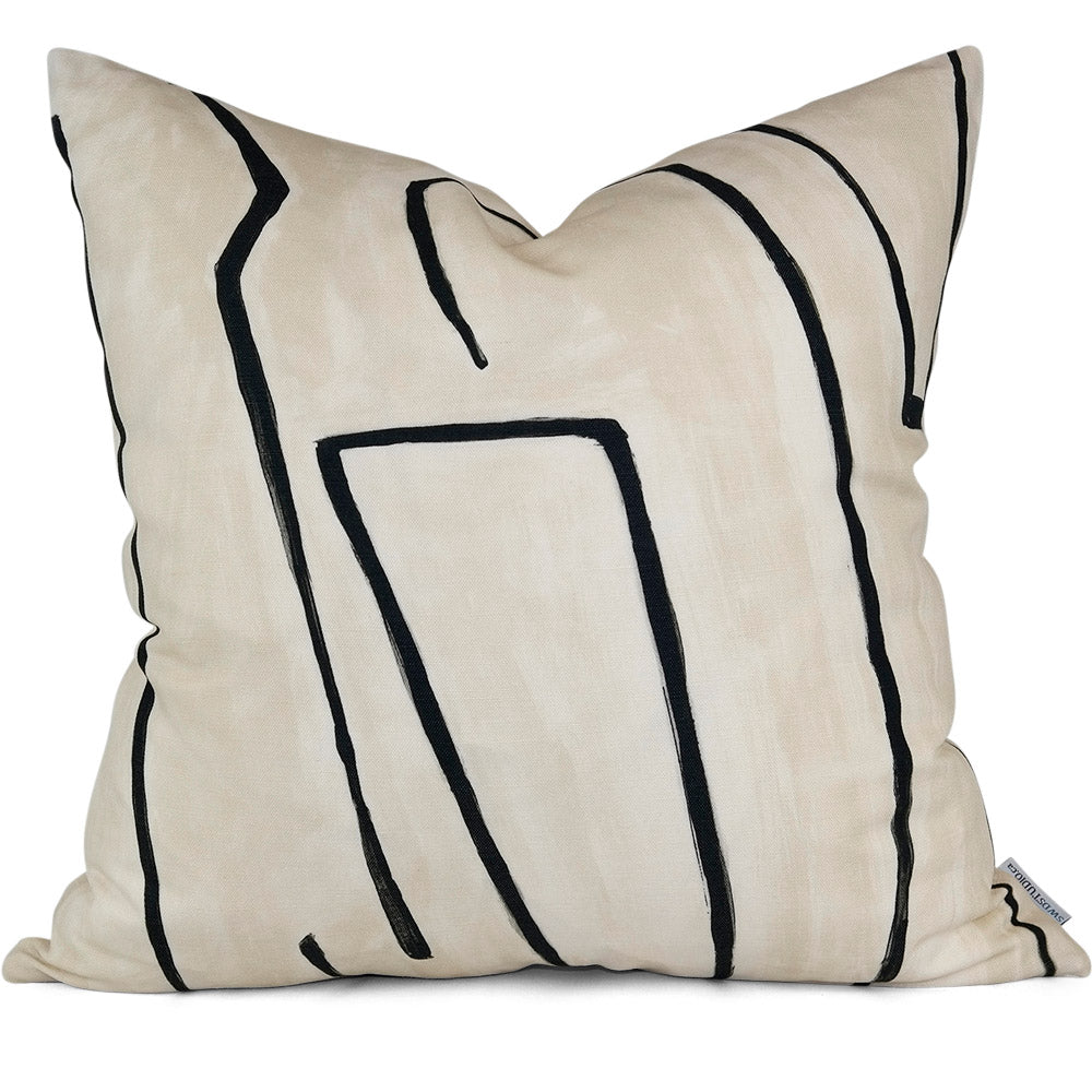 "GRAFFITO LINEN/ONYX Pillow Cover - Shown in 20""x20"""