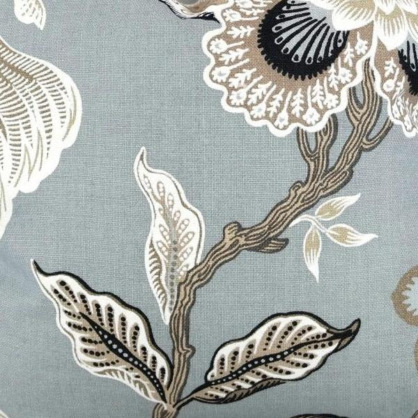 Hothouse Flowers in Mineral Fabric Swatch by F Schumacher.