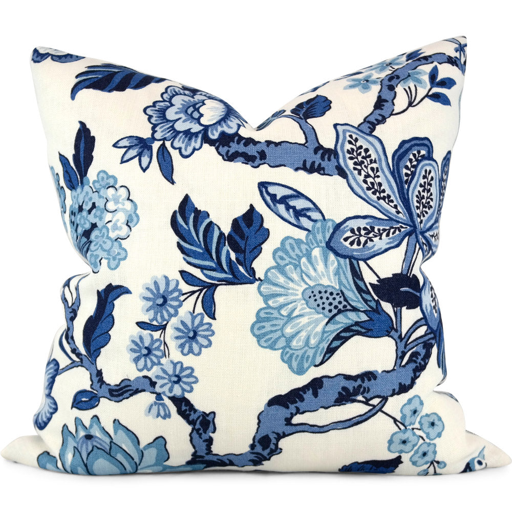 "HUNTINGTON GARDENS BLEU MARINE Pillow Cover by SWD Studio - Shown in 20""x20"""