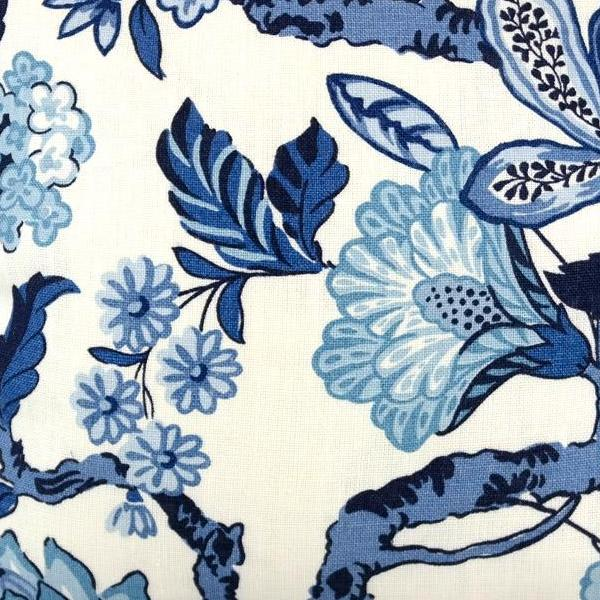 Huntington Gardens in Bleu Marine Fabric Swatch by F Schumacher.  A Timothy Corrigan Collection.