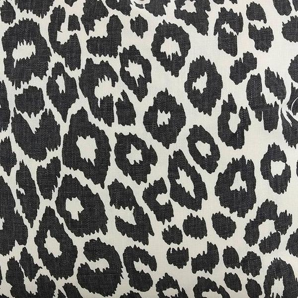 Iconic Leopard in Graphite Fabric Swatch by F Schumacher.