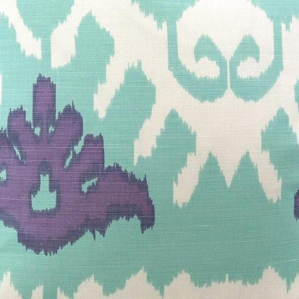 Kazak in Aqua Lilac on White Fabric Swatch