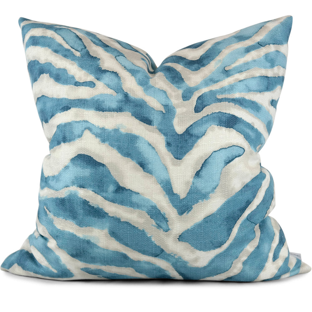 "ZEBRINK TURQUOISE Pillow Cover - Shown in 20""x20"""