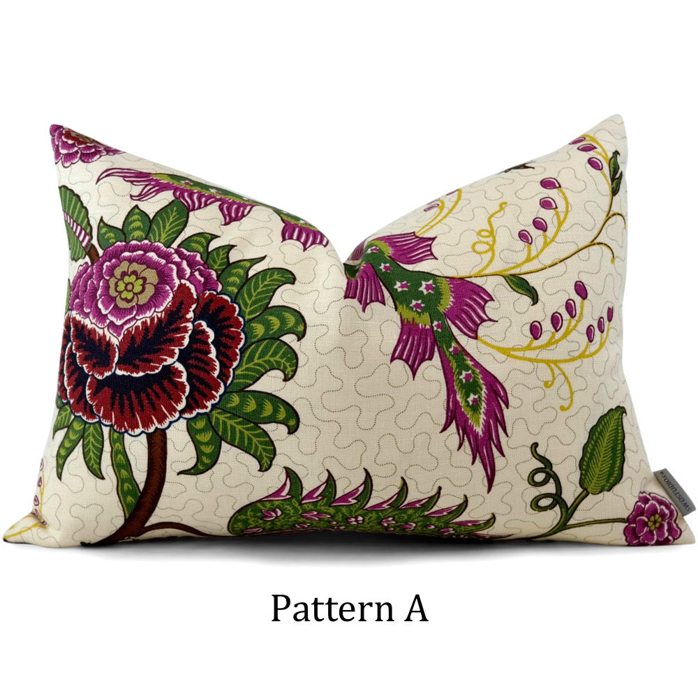 Sinhala Linen Print Jewel 13x19 Lumbar: Pattern A (In-Stock #1002)