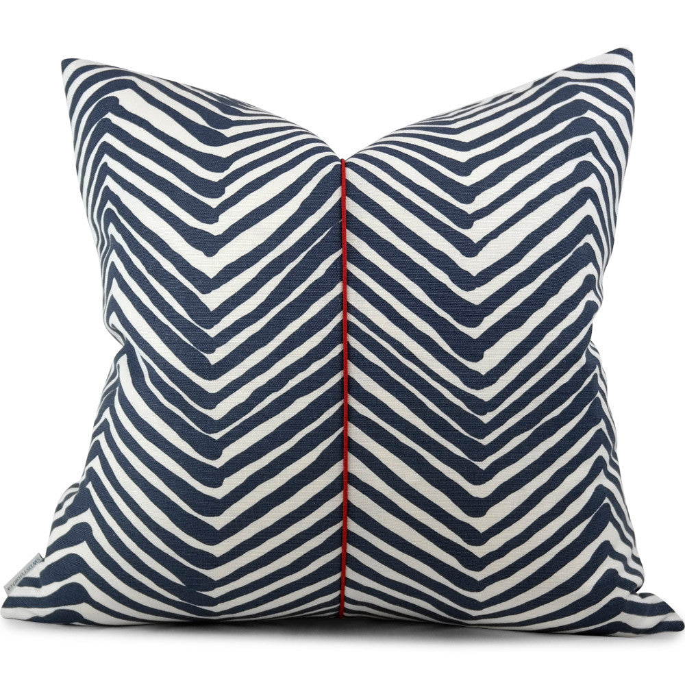 Quadrille Alan Campbell Zig Zag Navy On White Pillow Cover Swd