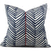 "ZIG ZAG Navy on White Pillow Cover - Shown in 20""x20"" with Red Dupioni Silk Piping Detail"
