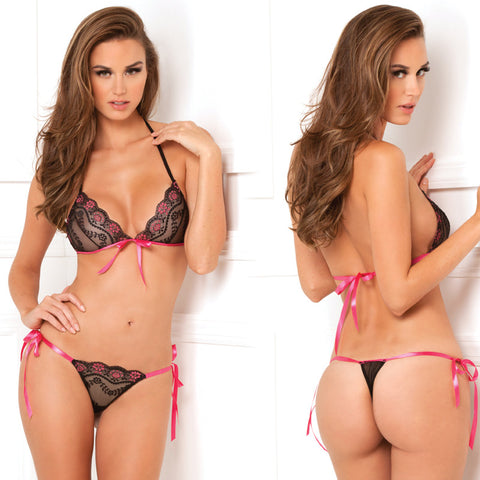 2pc Lace Tie Up Bra/Thong Set Blk Os
