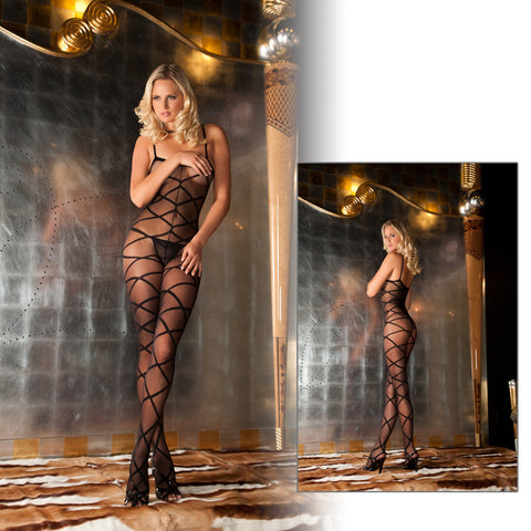 Strapped Up Sheer Bodystocking Black O/S