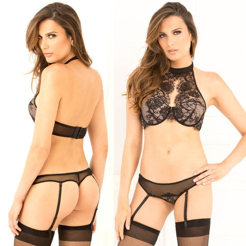 2pc Lace Choker Bra & Garter G Black S/M