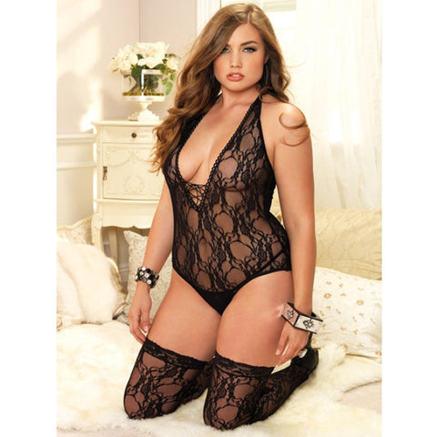 2pc Floral Lace Deep-V Teddy Plus Blk