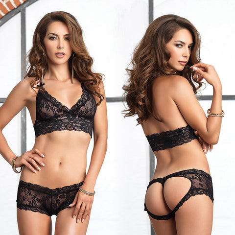 2pc Bra & Cut Out G Booty Short S/M Blk