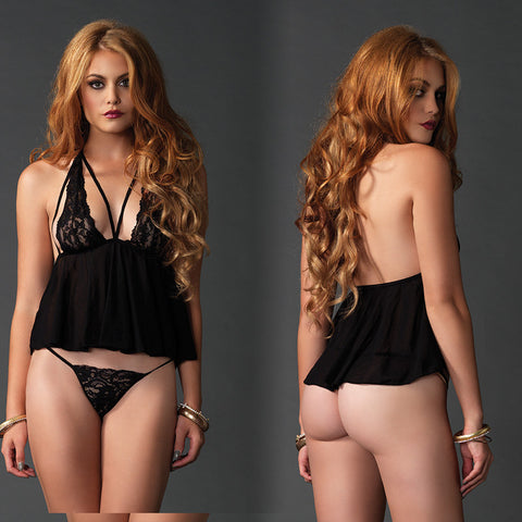 2pc Babydoll w/Cage Strp Bodce&G O/S Blk