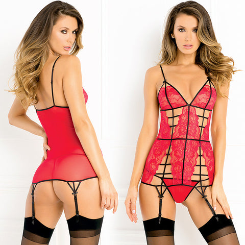 2pc Caged Lace Chemise & G Set M/L Red