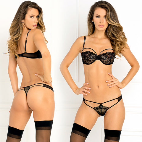 2pc Rough Romance Bra & G-String S/M Blk