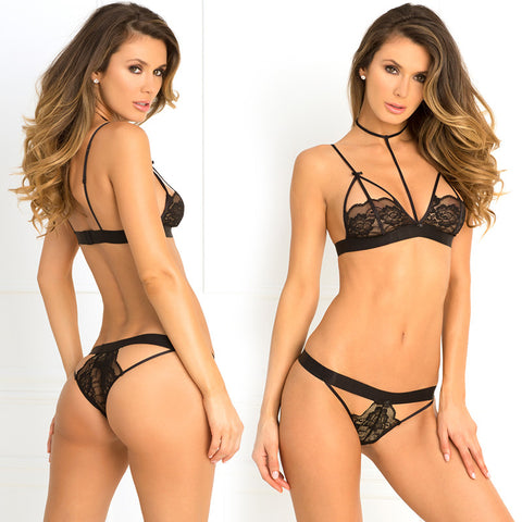 2pc Hot Harness Bra & G-String M/L Black