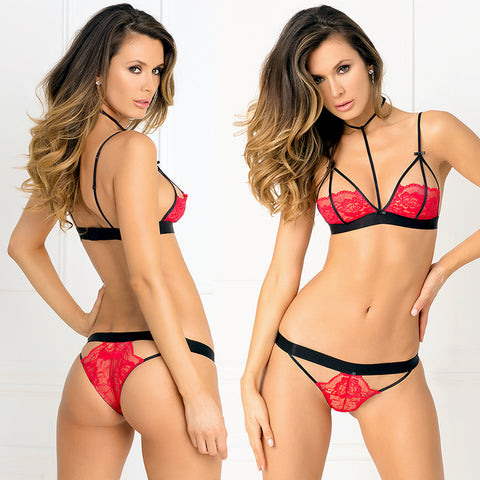 2pc Hot Harness Bra & G-String S/M Red