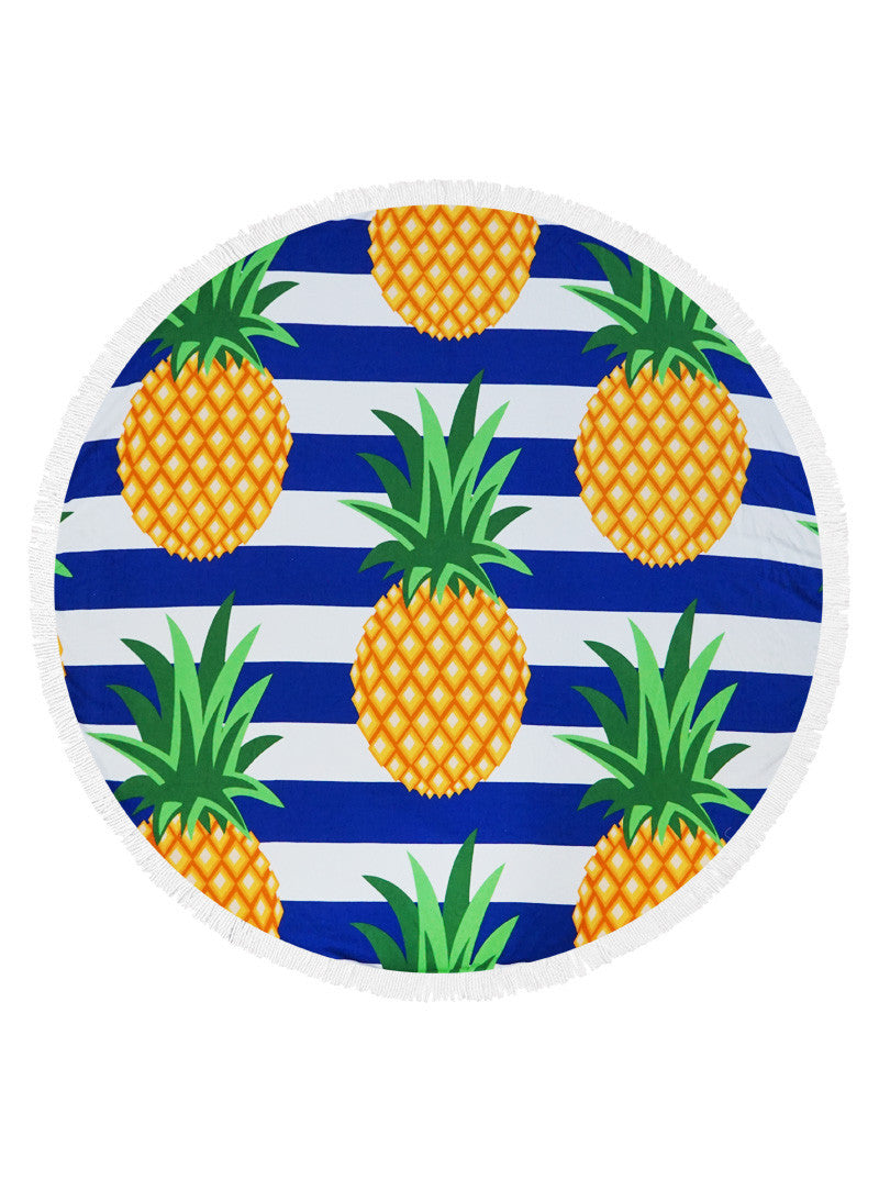 d6b8adc7cc Combining navy and white stripes create a nautical look that is perfect for the  beach. Bright pineapples with tasseled edges puts this round beach towel on  ...