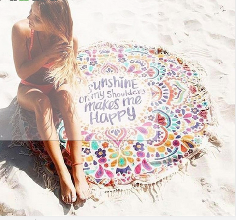 Summer Fringed Cotton Large Round Beach Towel Blanket - Hautify