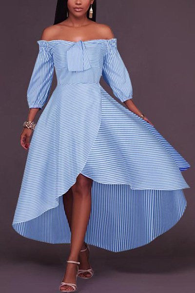 Nautical Off the Shoulder Striped Dress - Hautify