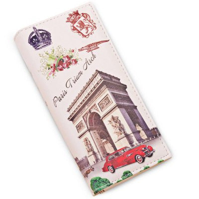 Paris Vintage Print Snap Lock Womens Wallet