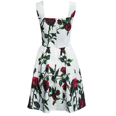 Square Neck Floral Print A-Line Pleated Midi Dress for Women